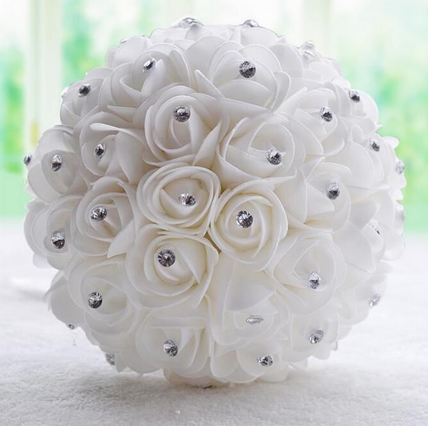 2016 Wedding Bouquet Beautiful White Ivory Bridal Flower wedding bouquet artificial flower rose bouquet Crystal bridal bouquets