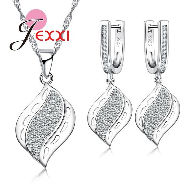 JEXXI High Quality Hollow Out 925 Sterling Silver Pendant Necklace Hoop Earrings Jewelry Sets For Woman Cubic Zircon Crystal Set