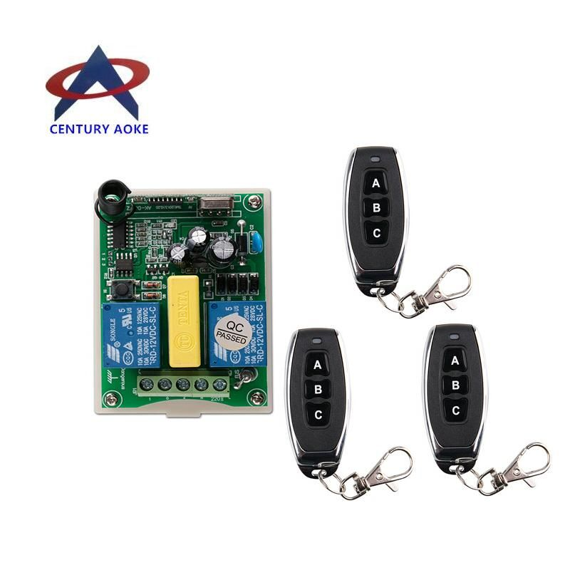 AC 220 V  RF 2CH   Wireless Remote Control 1*  Receiver  +3*  Transmitter  tubular motor garage door  projection screen 3 button
