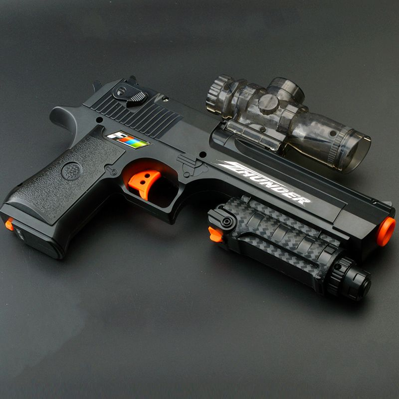 1SET Gun Desert Eagle Electric Repeating Paintball Gun Pistol & Soft Bullet Gun Plastic Air soft Pistol Crystal Gun