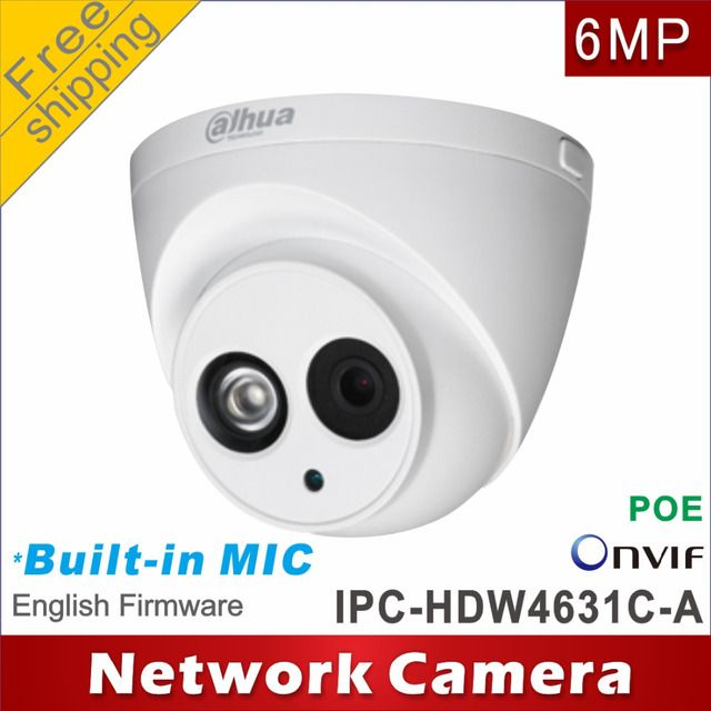 Free shipping Dahua 6MP IPC-HDW4631C-A cctv camera network camera  POE  Micro SD Audio 1/1 In/Out ip camera network H265