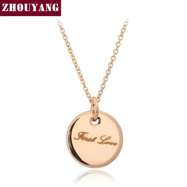 Top Quality First LOVE Rose Gold Color Pendant Necklace Jewelry Made with Austria Crystal Wholesale ZYN137 ZYN138
