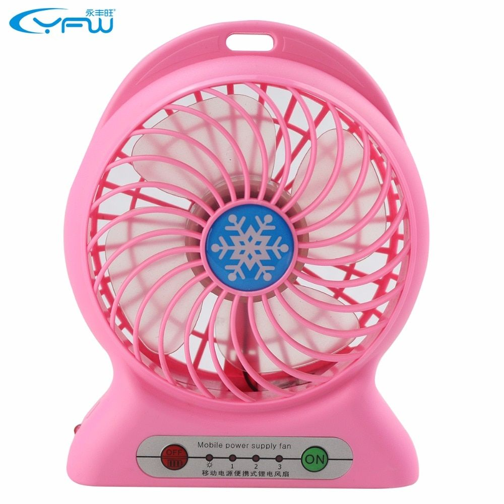 YFW Mobile Power Supply Fan 2200mAh Rechargeable Fan 18650 Portable Power bank Desktop Summer Cooler with 3 Speed & USB Cable