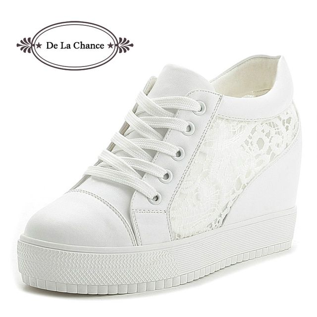 Black White Summer Women Wedges Shoes Mesh Lace Platform Shoes Leather Women's Casual Shoes Lace Up Female Summer Shoes Gauze