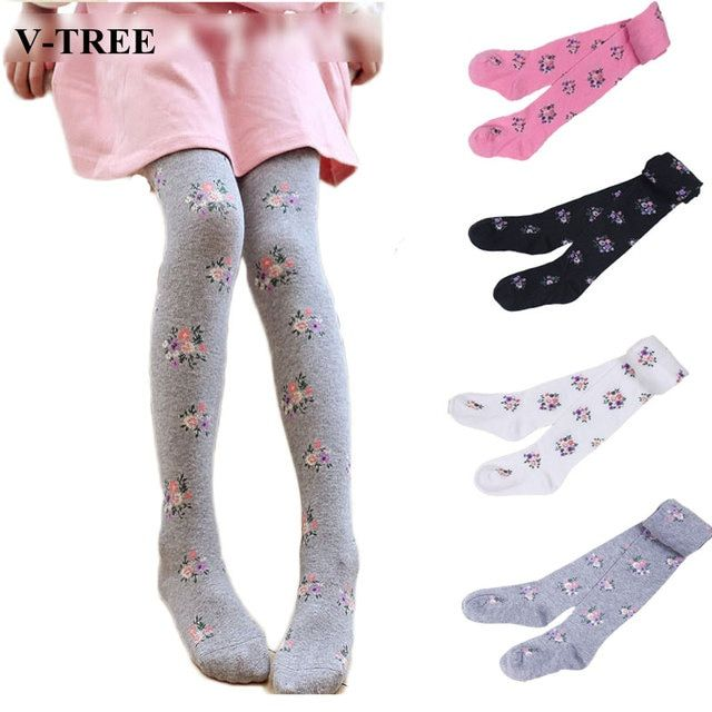 V-TREE 2017 baby clothing tights children tights for girls cotton child pantyhose flower kids pantyhose warm stockings