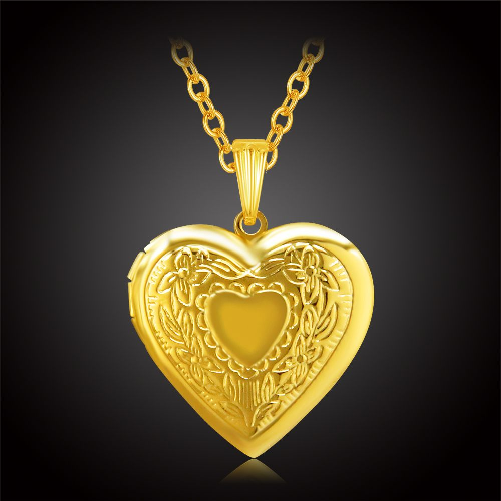 Romantic heart locket necklace women gold color jewelry flower floating charm photo love necklaces pendants Valentines Gift