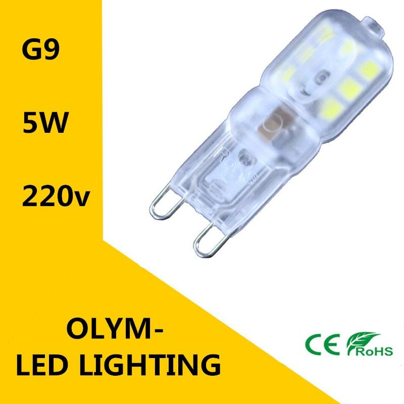 100X  2016 NEW Mini G9 LED lamp 220 V 230 V 240 V 5 W LED Lamps SMD2835 Corn Bulbs Chandelier Light Bright Spot!