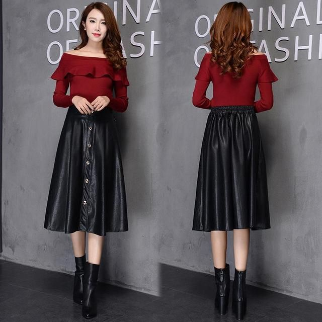 PU Leather Skirt Hot Explosion Models Retro Big Swing Pleated Skirt High Quality Skirts Fashion New Black