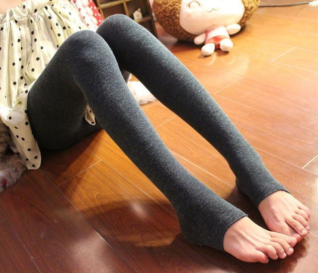 Free shipping Winter Women Pedal Footless tights Keep Warm Stretchy Alpaca Wool Feel pantyhose 1 layer