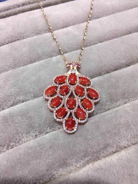 natural red coral gem pendant S925 silver Natural gemstone Pendant Necklace trendy Luxury peacock women wedding gift jewelry