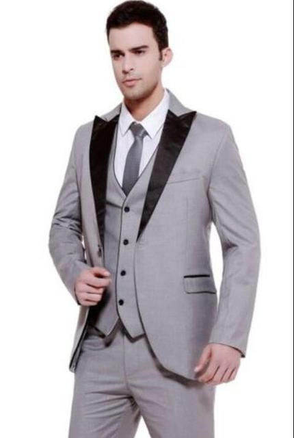 2016 One Button Silver Gray Groom Tuxedos Notch Lapel Best Man Groomsmen Prom Suits Business Suits Blazers(Jacket+Pant+Vest+Tie)