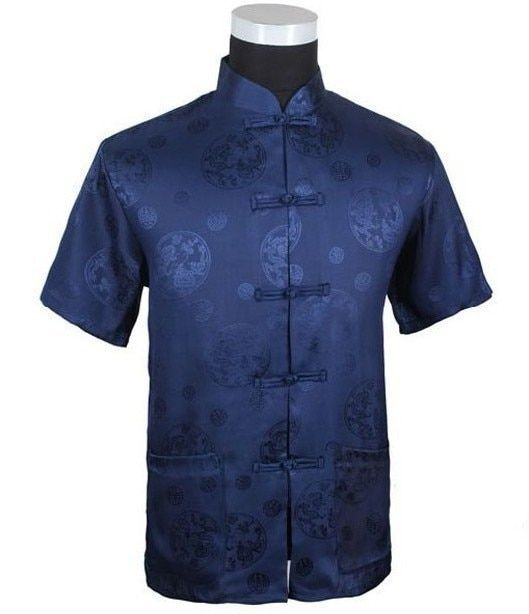 Free Shipping Navy blue Tradition Chinese Men's Silk Satin Kung-Fu Shirt with Pocket Size S M L XL XXL XXXL M2066