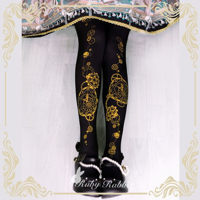 2017 New Ruby Rabbit Steampunk Tights Astrological Clock & Gear Printed Lolita Pantyhose/Tights Free Shipping