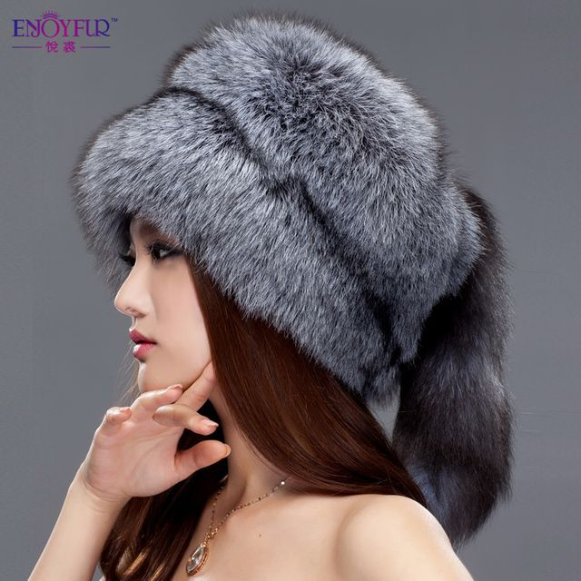 Women winter fur cap real fox/raccoon fur hat with fur tail 2016 new fashion Russian ear protector high quality female brand hat