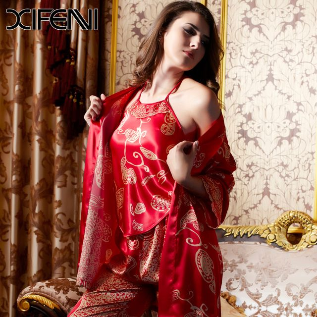 XIFENNI Women Silk Pyjamas Pajamas Sets 4 PCS Lace Bride Robe Sexy backless Nightgown Ladies Pajamas Sets