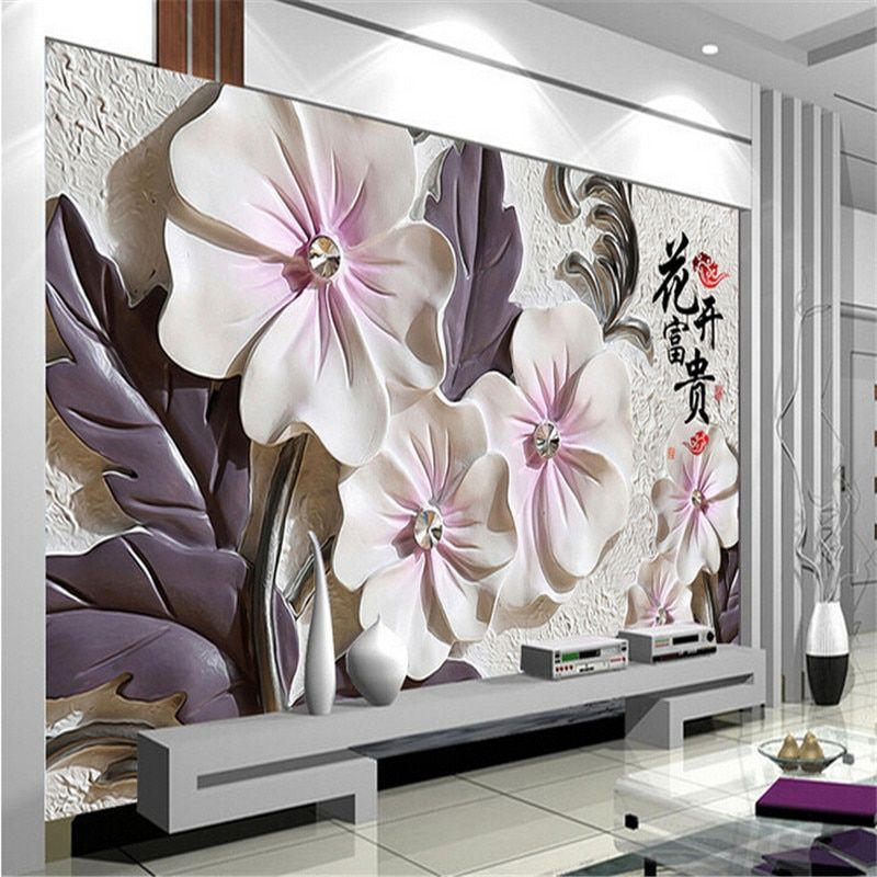 photo wallpaper Art lotus modern minimalist living room TV wall wallpaper embossed backdrop wall paper mural painting modern