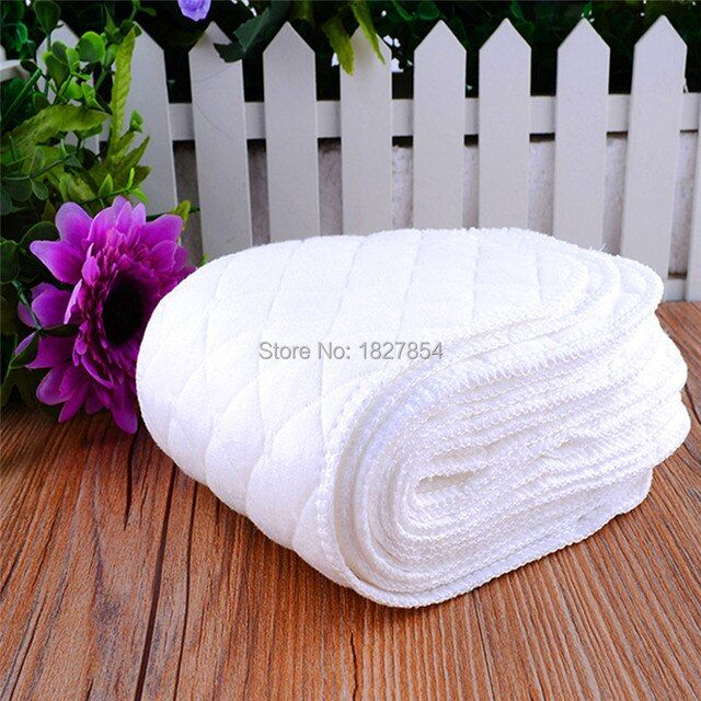 10 Pcs/ Lots Reusable Baby Diapers Nappy 3 Layers Ecological Cotton Modern Cloth Insert Cotton Infant Diaper Liners Soft