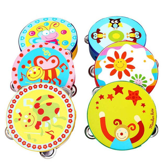 High Quality Kid New Gift Jingle Percussion Hand Bell Tambourine Musical Instrument Toy Free Shipping