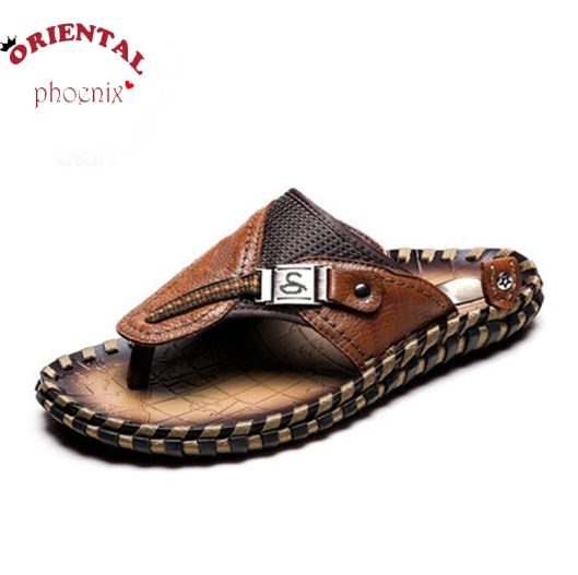 Hot fashion breathable slippers summer shoes genuine leather flip flops beach slippers best quality free shipping size 39 - 44