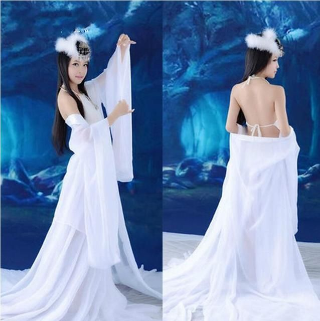 Sexy Dance Dress White Costumes Tang Hanfu Chinese Ancient Clothing Fairy Costume Gorgeous Princess Costume Chinese Folk Dance