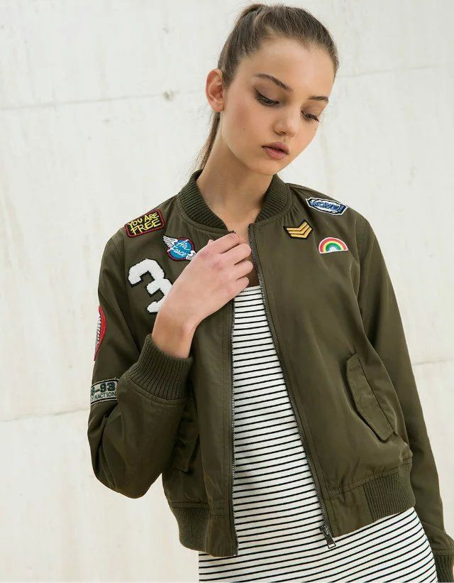 2018 Europe fashion women's jackets army green color slim fall coats regular length lady's basic jackets zipper floral coat