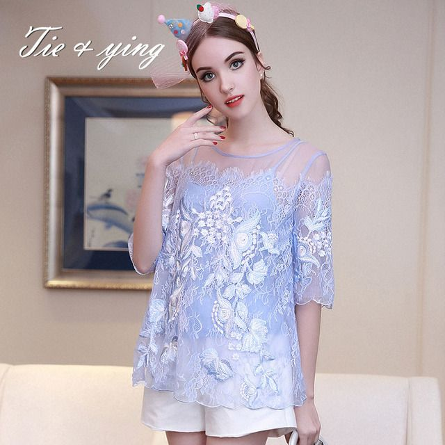 High-end lady floral silk blouse shirt 2016 summer American European vintage royal embroidery loose flowers shirt brand womens