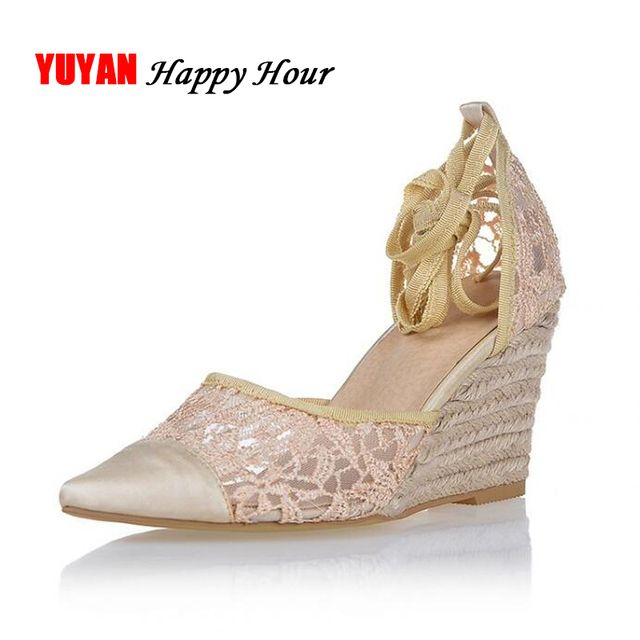 New 2019 Sumemr High Heel Sandals Women Lace Summer Shoes Sexy Ladies Wedge Sandals Brand Pointed toe Wedge Heels 8cm ZH2014