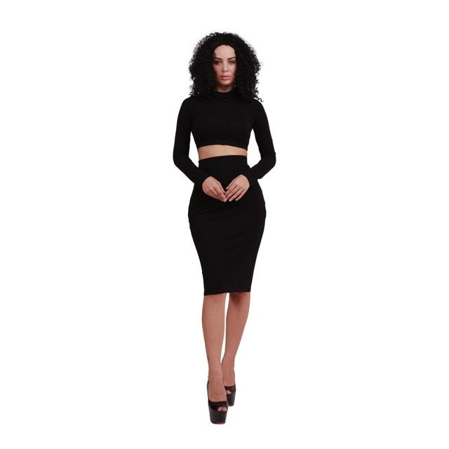 Yuerlian Women Cotton Dresses 2 Pieces Sets Lady Turtleneck Long Sleeve Vestido 2017 Spring Female Party Crop Top Dress Outfits
