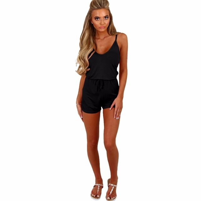 2017 Women Playsuits Sleeveless Spaghetti Strap Summer Boho Beach Style Rompers Overalls Casual Black/White Jumpsuits Shorts New