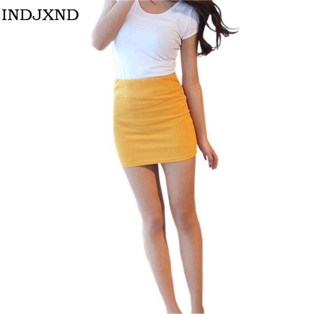 Summer Candy Color Femininas Apparel Short Skirts Women Plus Size Buttock Sexy Lady Saias Pencil Above Knee Mini Skirt D008