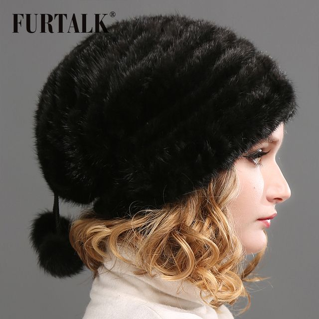 FURTALK Real Mink Fur Hat Women Winter Fur Hats
