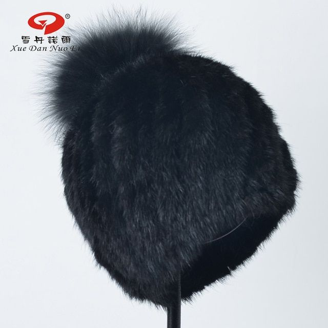 2017 New arrival real fur hat for women natural knitted mink fur cap with real fox fur pompom for lady hot sale black color