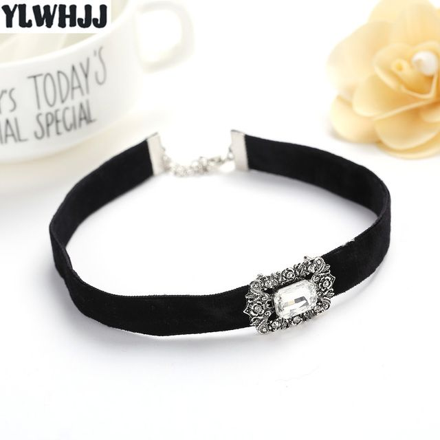 YLWHJJ new women black choker necklace girls torques brand rhinestone velvet crystal white gem necklace fashion metal jewelry