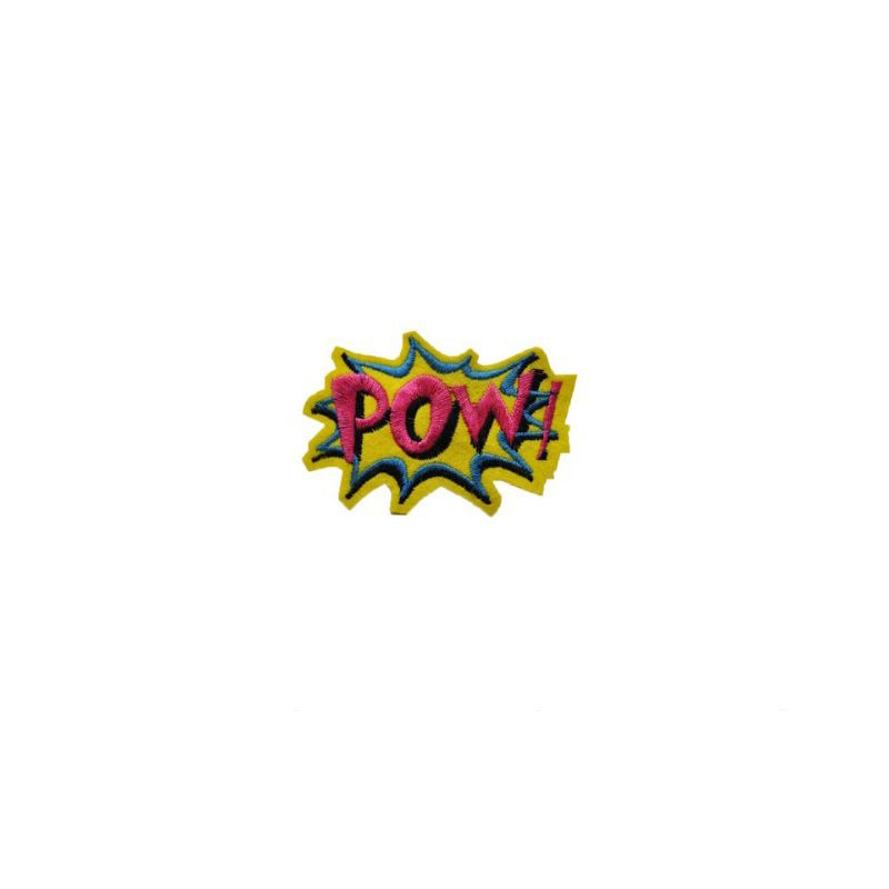 DIY 1PCS POW Letter Patch Kids Cartoon Iron On Cute Patches For Clothes Stickers Cheap Embroidered Patches Applique Fashion