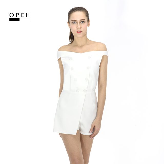 P172 off the shoulder ladies white women spring playsuits with buttons