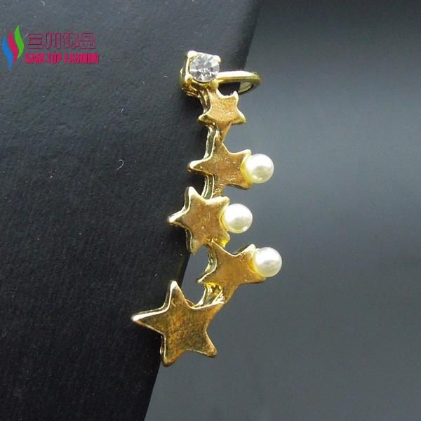 hot fashion girls designer lovely gold stars faux pearl stud earrings cuffs jewelry accessories for women Aretes de perlas