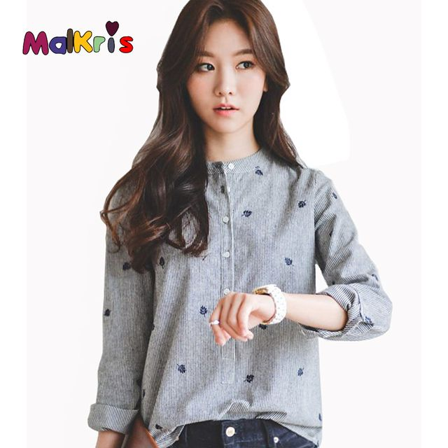 MALKRIS 2016 Autumn Fashion OL Shirt Long Sleeve Stand Stripe Women Chiffon Blouse Embroidered Slim Lace Tops Office Shirts