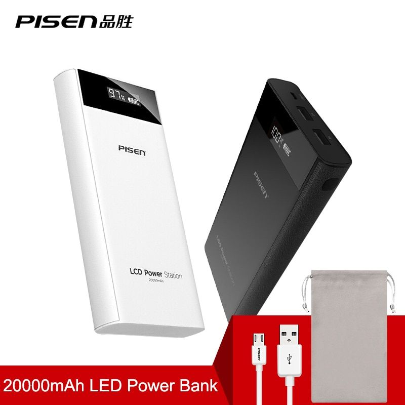 PISEN 18650 Power Bank 20000mah 2 USB Powerbank Portable Charger External Battery Poverbank For iPhone 7 6 5 4 for Xiaomi Mi