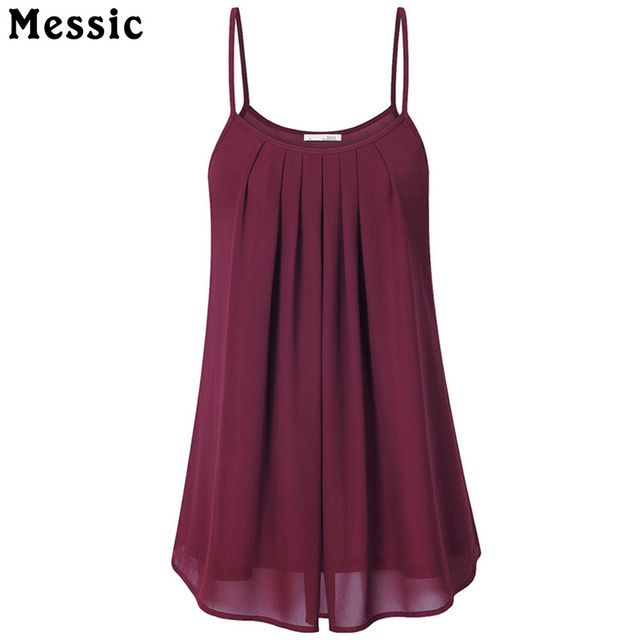 Messic Women's Summer Sleeveless Pleated Chiffon Layered Camis Front Pleat Cool Tank Top Red Black Blue Top women summer 2018