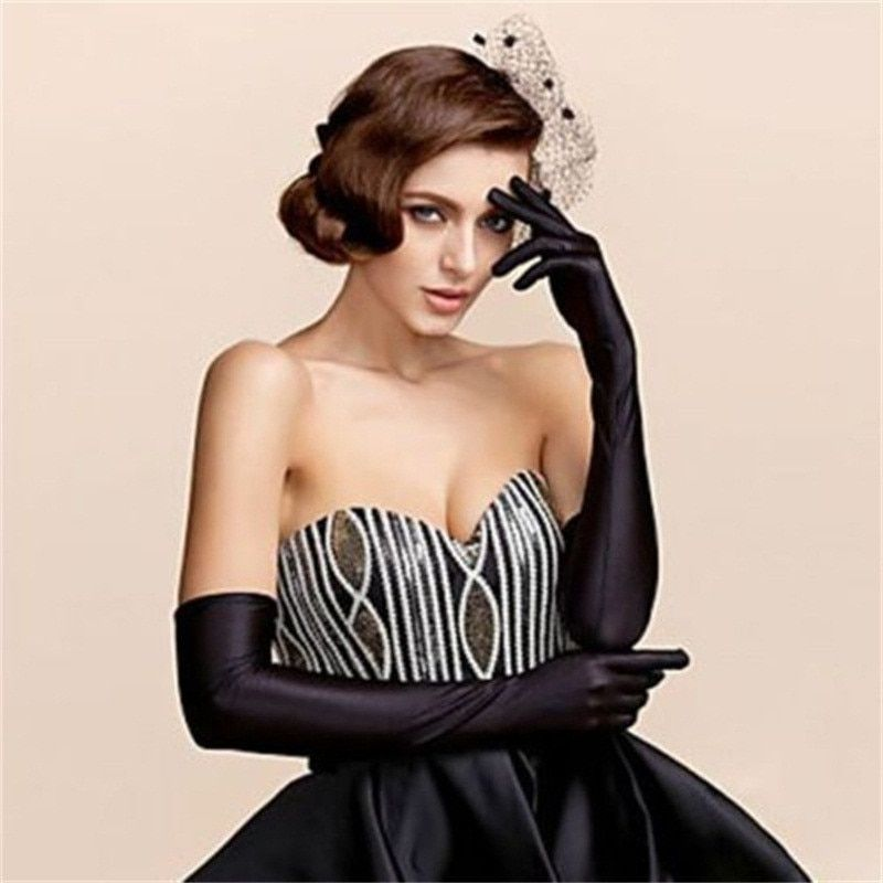 Female Gloves 2017 Sexy Fashion Lady Soft Stretchy Long Sleeve Finger Gloves Burlesque Party Opera Gloves Sun Protection Gloves