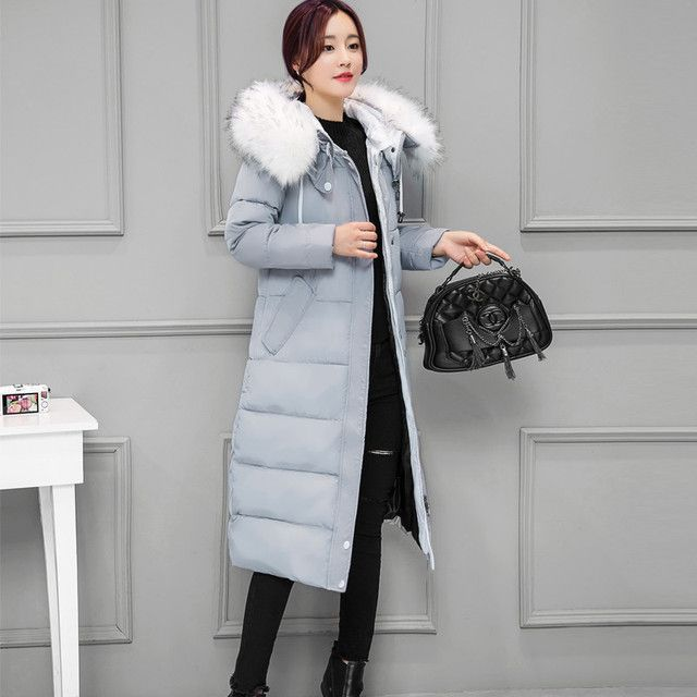 2016 Winter New Women Plus Size Down & Parkas Long Jacket Korean Thick Slim Warm Fur Collar Hooded Cotton Coat Female Black Gray