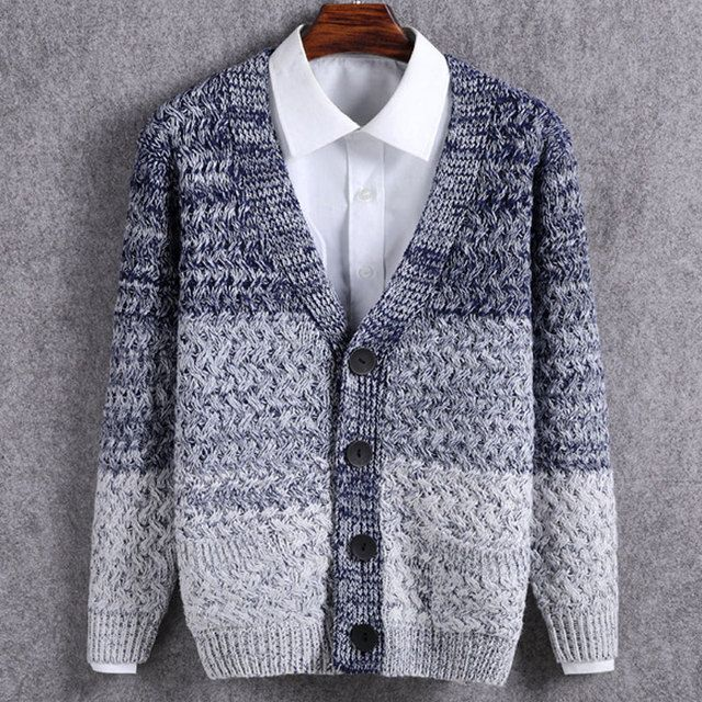 V-neck Sweater for Men Long Sleeve Cardigan Sweater Men 2016 Single Breasted Thick Mens Sweaters Casual Casaco Masculino