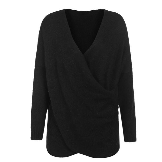 Women's V-Neck Drop-Shoulder Sleeve Cross Wrap Pullover Sweater Fashion