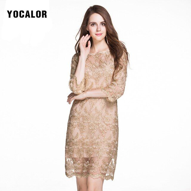 YOCALOR Plus Size Three Quarter Sleeve Embroidery Golden Lace Pencil Summer Sexy Short Dress Elegant Women 5xl Dresses For Fat