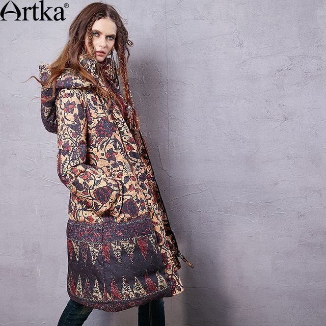 Artka Women's 2015 Winter Vintage Long Section 90% White Duck Down Coat Printed Long-Sleeved Comfortable Down coat ZK15857D