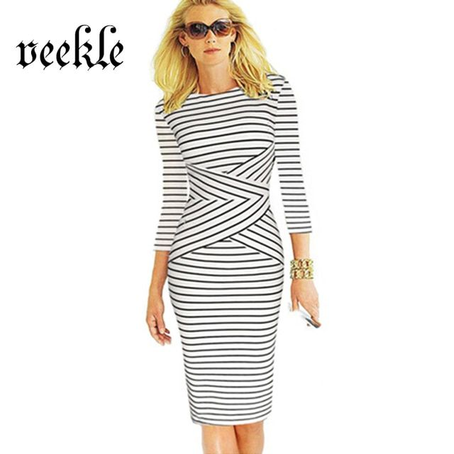 VEEKLE Women Office Dress Plus Size Elegant Striped Pencil Dresses Wear to Work Business Bodycon Sheath Green Red Black White