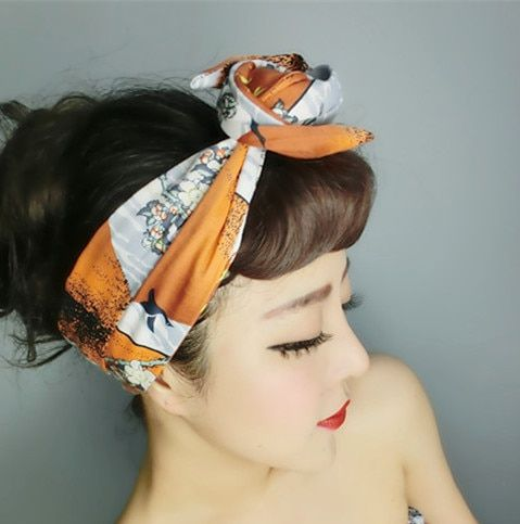 1950s women vintage rockabilly pin up style Japan fuji print headband hairband hair head bands accessories bow rabbit ear