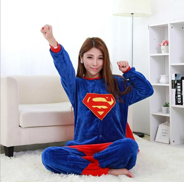 Superman Pajamas Animal Cosplay Costume Flannel Girls Boys Adult Pajamas Onesies Cartoon Sleepwear Sleepsuit