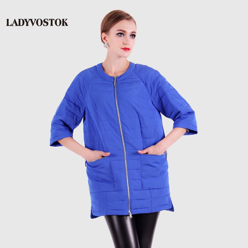 LADYVOSTOK 2016 Round Collar Women's Winter Jacket And Ultra Light Coat Female With Zippers And Pockets Multiple Colour 12-278
