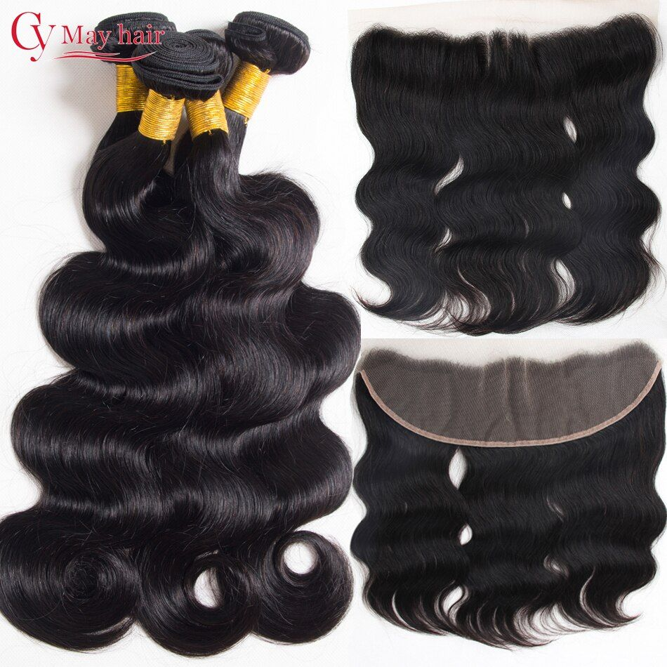 7A Brazilian Body Wave Lace Frontal Closure With Bundles 13x4 Ear To Ear Frontal With Bundles Human Hair Closure With Baby Hair